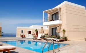 Swimming pool at the modern luxury villa, Crete, Greece